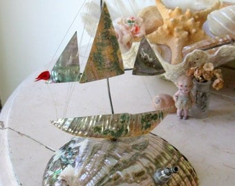 Abalone Sailboat made with Mother of Pearl Shells