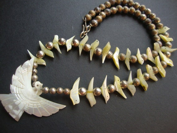 Mother of Pearl Carved Bird Fetish Necklace