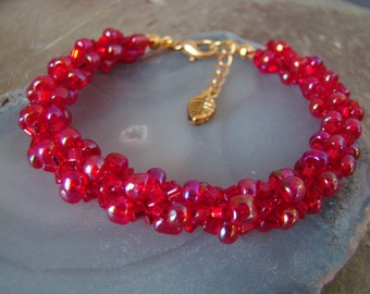 Hand Stitched Spiral Weave Beaded Bracelet BIRTHDAY - July  - RUBY  -  1.99 Shipping USA