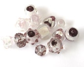 Assorted Purple, Lavender, Pink and silver Art Lampwork, Czech Glass Beads, Set of 13pc, 1042-17