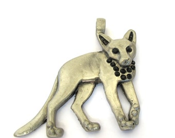 Antiqued Silver Metal, Black Crystals, 55mm x 50mm Cat Pendant, 1056-43