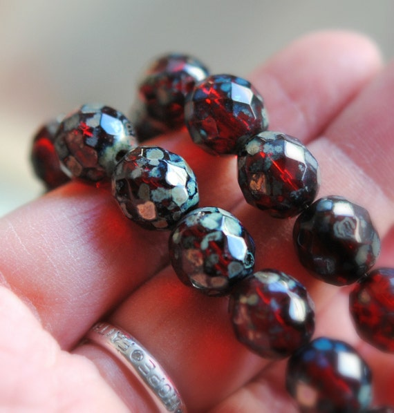 4 Sugared Cranberries - Czech Glass Rondelle Beads