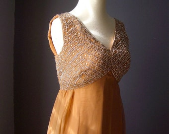 Vintage Sixties Orange Pecan Gown