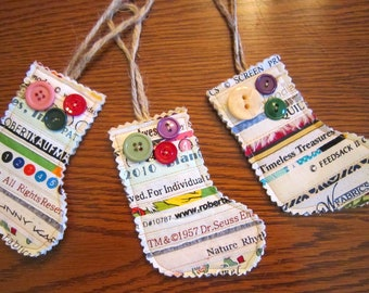 Selvage Christmas Ornaments STOCKINGS Set of 3 Embellished with Vintage Buttons Selvages
