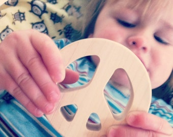 baby toy wood teether wooden baby teething toy peace teether baby gift