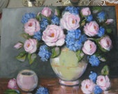 Beautiful Still Life Shabby but chic original oil painting of pink roses and blue hydrangeas by Carole DeWald