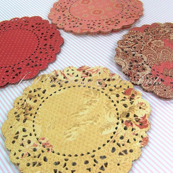 Handmade Paper Doilies - Double Sided Cardstock - Set of 16