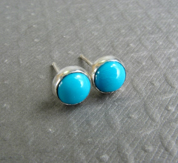 Turquoise Stud Earrings in Sterling Silver - Sleeping Beauty Turquoise - Blue Stud Earrings - December Birthstone