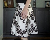 Size 10- Black and White Damask-  A-line Twirl Women's Skirt