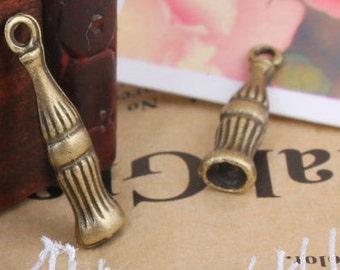 8pcs 5x20mm antique bronze bottle charms pendants (J433)