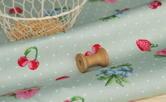 3021 - Strawberry Cherry Floral Polka Dot Stretchy Cotton Fabric - 43 Inch (Width) x 1/2 Yard (Length)