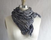 Charcoal Silk Scarf Hand Dyed Long Fiber Art OOAK from Pleats Please Collection - Clouds