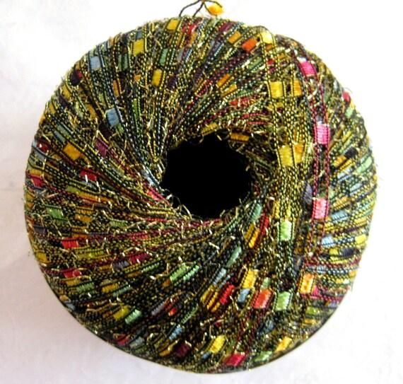 Glitter Ladder Ribbon  yarn,  green red gold, Hawaiian Parrot, trellis yarn, Berlini Yarn, 93