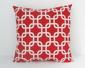Red Pillow Cover Nautical Pillow Decorative Pillow Accent Pillow Size Choice