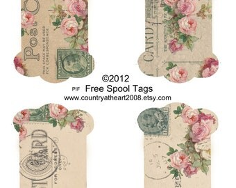 Spool Tags and Rose Tags  - PIF - Pay it Forward - Printable Digital Collage Sheet - Scrapbook - Supplies
