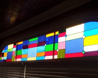 "Stained glass 3 panel set  - ""Cubist Rainbow"" (P-28)"