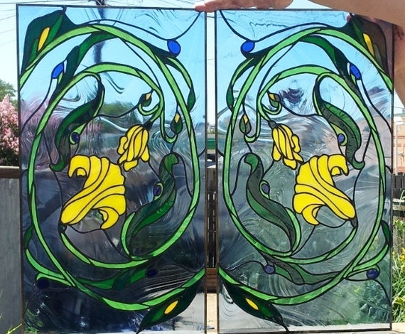 "Stained Glass Cabinet inserts- ""Floral Swirl"" (CI-6)"