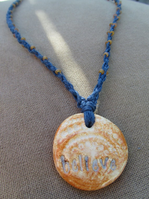 SALE Believe Ceramic Pendant and Glass - Hemp Macrame Necklace - Natural Bohemian Woodland
