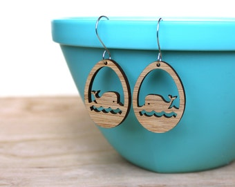 Whale Earrings - Bamboo earrings lightweight eco-friendly - Nautical jewelry , gifts for beach lovers, stocking stuffer, whale lover