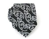 Mens Necktie - Black and Grey Brocade Silk Tie