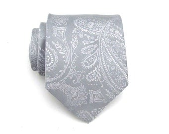 Mens Tie - Grey Paisley Silk Necktie With Matching Pocket Square Option