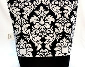 Insulated Lunch Bag - Michael Miller Black & White Damask