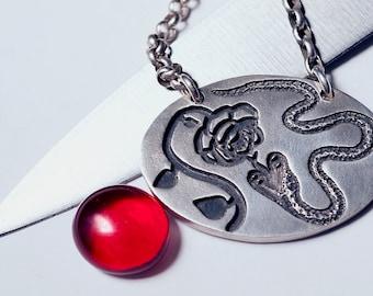 Snake Rose Necklace Sterling Silver Flower Good Versus Evil
