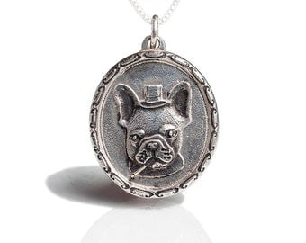 French Bulldog Necklace Jewelry Sir Frenchie Bulldog Sterling Silver Cameo