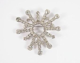 Snowflake Rhinestone 40s Brooch Vintage Jewelry