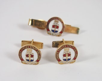 Vintage 60s Enamel Armed Forces Staff College Cuff Links and Tie Clip