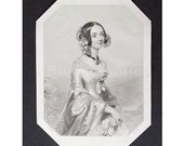 Antique Book Plate Engraving - 1850's Viscountess Sydney - English Aristocrat