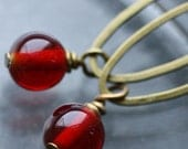 Cranberry Dangle Earrings with Vintage Glass Beads