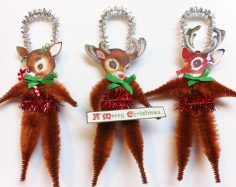 Rudolph REINDEER trio CHRISTMAS vintage style chenille ORNAMENTS set of 3