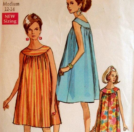 Vintage 60s Mod Tent Dress or Muu Muu Pattern Simplicity 7597 Bust 34 36 M
