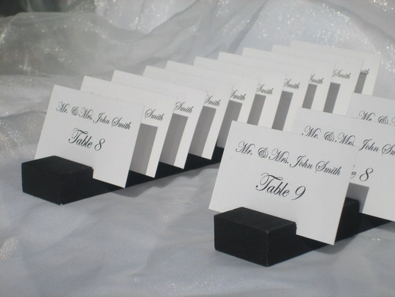 BLACK Wood Plank Place Card Holder- Set of 11 (holds 100 place cards)