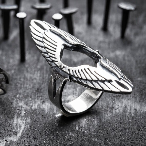 SALE sterling silver wings ring