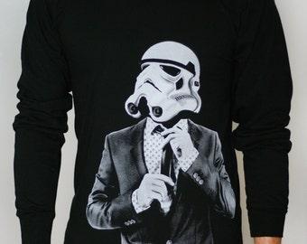 Storm trooper Smart Trooper Mens/Unisex Long Sleeve, star wars fan art shirt, men's sweatshirt, gift for boyfriend, gift for husband