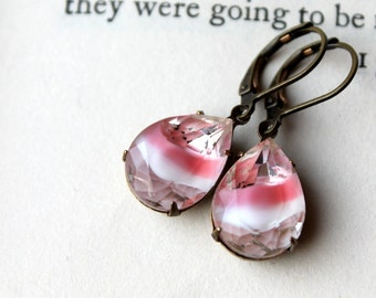 Pink Givre Earrings, Hollywood Glam, Vintage Glass,  Candy Stripe, Valentine, Candy Pink,  Wedding, Dangle Earring