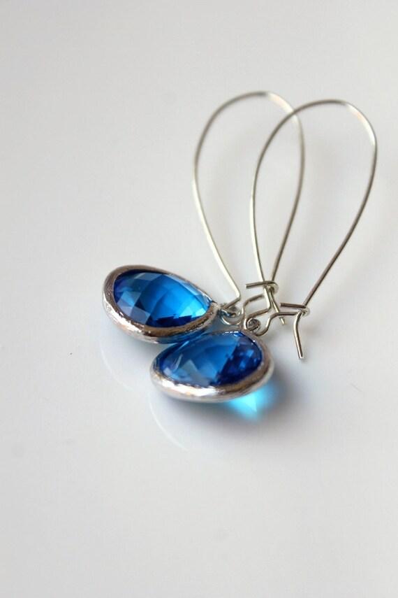 New - Ocean Blue Dangle Earrings, Capri Blue, Silver, Elegant, Kidney Earwires, Olympian Blue, Resort