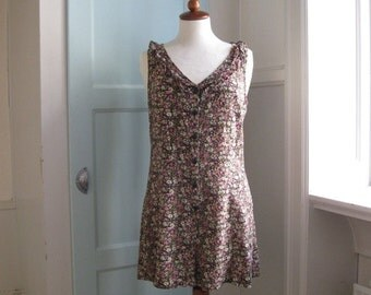 1990s ruffled floral romper - S/M