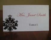 Wedding Place Cards Tented - Damask Design - Set of 100 - You Choose Your Colors and Fonts