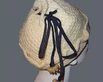 Vintage 50s Cream Knit Pixie Cap Hat Confetti Plastic Trim