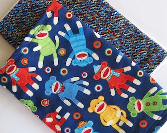 SALE Sock Monkey Multi-Colored Baby Burp Cloth Set of 2