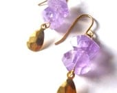Raw Purple Amethyst Gemstone Gold Drop Earrings, Simple, Modern, Bohemian