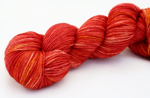 Persimmon--hand dyed sock weight yarn, merino and silk, (437yds/100gm)