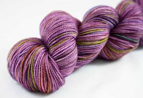 Enchanted--hand dyed sock weight yarn, 2 ply merino, cashmere, nylon (400yds/100gm)