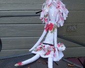 Folk Rag Doll made from Vintage Tablecloth