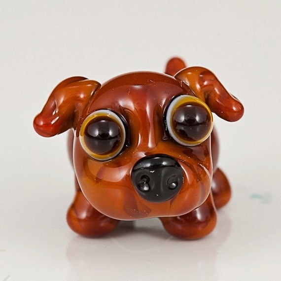 Small Brown Dog Lampwork Glass Dog Bead