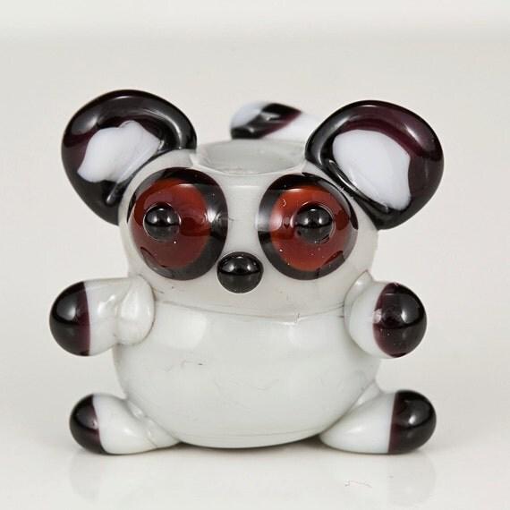 Chubby Lemur Lampwork Glass Animal Bead