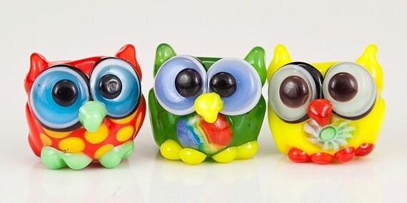 Mini Owl Trio Lampwork Glass Beads - yellow, green, red